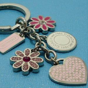 NEW Coach Heart Flower Mix Charm Keychain Crystal